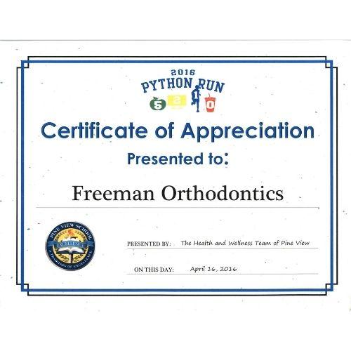 Pine View Sponsor Freeman Orthodontics